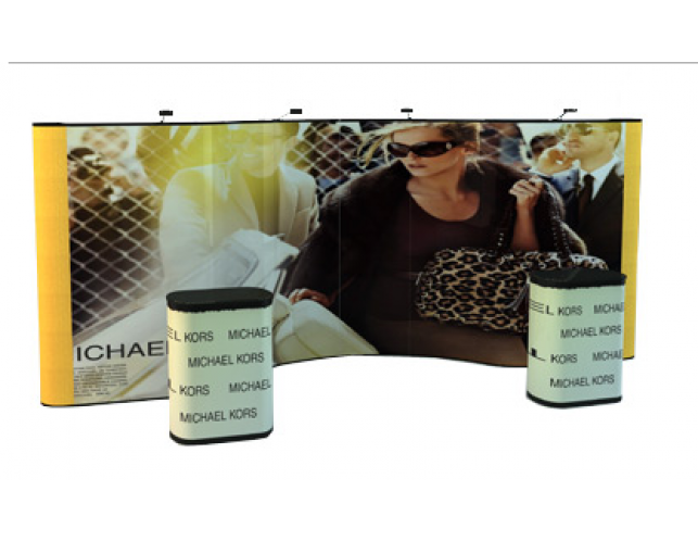 20' Straight Curve Straight Full Graphic Pop-Up Display
