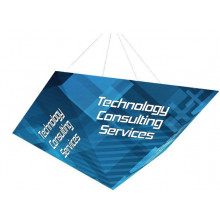 Four sided pyramid hanging sign
